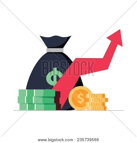 Profit Money Or Budget Vector Illustration, Flat Cartoon Pile Of Cash And Rising Graph Arrow Up. Con