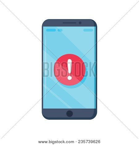 Notice On The Smartphone Screen. Vector Illustration In Flat Style. Reminder Alarm On Device, Notifi