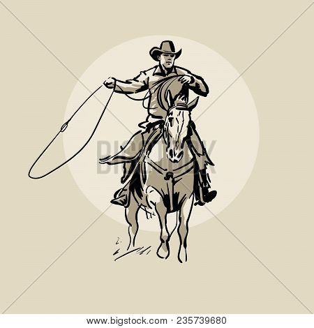 American Cowboy Riding Horse And Throwing Lasso. Hand Drawn Vector Illustration. Hand Sketch. Illust