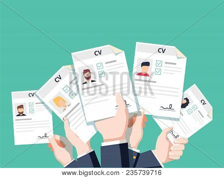 Hands Holding Cv Resume Documents. Applying For Job. Competition Of Business Man And Woman For Work