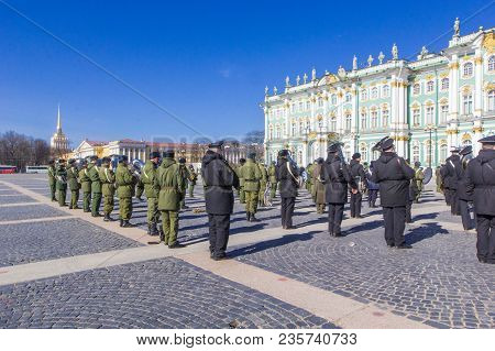 St. Petersburg, Russia - April 12, 2018: Russian Military Orchestra At Rehearsal Of Victory Day (vic