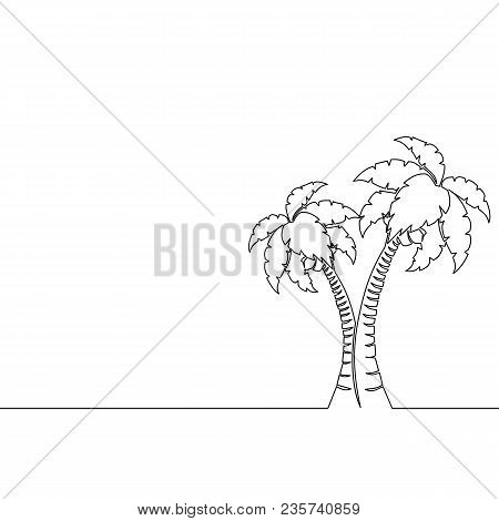 Single Continuous Line Art Palm Tree Single Line Drawing. Abstract Line Art Vector Illustration