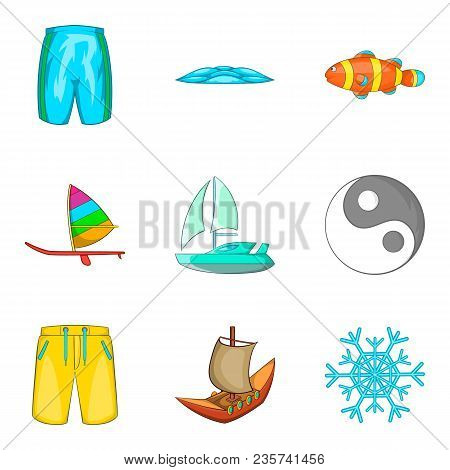 Aqua Aerobics Icons Set. Cartoon Set Of 9 Aqua Aerobics Vector Icons For Web Isolated On White Backg