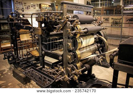 Prague, Czech Republic - September 23, 2017: Old Printing Machine In National Technical Museum In Pr