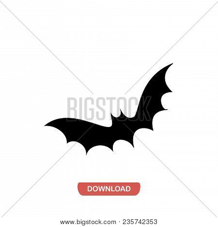Flying Bat Icon Vector In Modern Flat Style For Web, Graphic And Mobile Design. Flying Bat Icon Vect