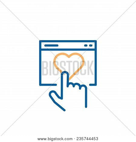 Finger Clicking On Heart. Vector Thin Line Icon Design For Concepts Of Online Dating Or Customer Sat