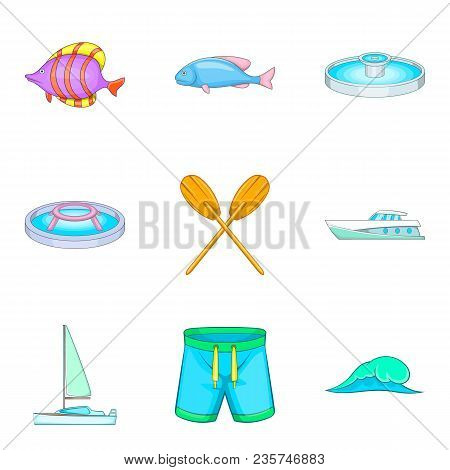 Sailing Sport Icons Set. Cartoon Set Of 9 Sailing Sport Vector Icons For Web Isolated On White Backg