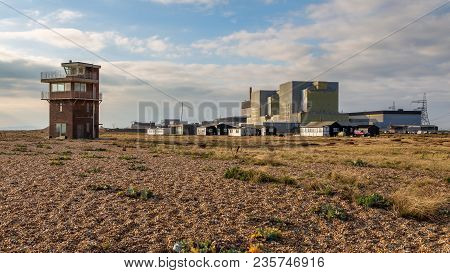 Dungeness, Kent, England, Uk - October 28, 2016: Dungeness Nuclear Power Station And The Old Lifegua
