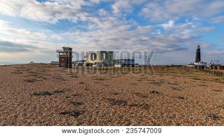 Dungeness, Kent, England, Uk - October 28, 2016: Dungeness Nuclear Power Station, The Old Lifeguard