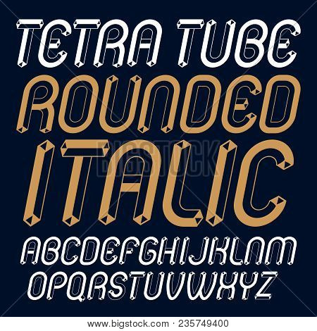 Vector Trendy Modern Capital, Uppercase English Alphabet Letters Collection. Unlike Italic Rounded T