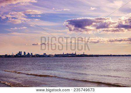 The Old Town Of Tallinn. View Of The City From The Finnish Gulf Of The Baltic Sea. Antiquated Tone E