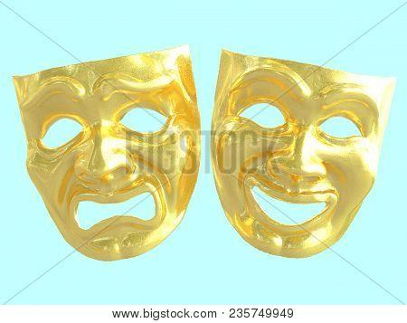 Golden Theatrical Masks Depicting Emotions. 3d Render