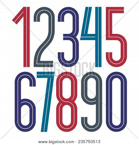 Vector Elegant Tall Numbers Collection Made With White Lines, Can Be Used In Poster Art Creation For