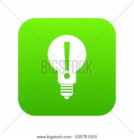 Light Bulb With Exclamation Mark Inside Icon Digital Green For Any Design Isolated On White Vector I