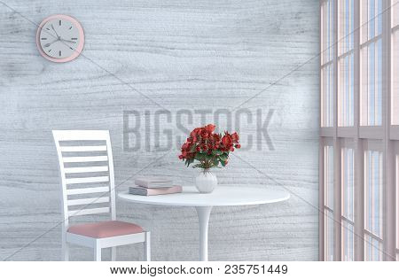 Grey-white Living Room Decor With Pink-white Chair, Wall Clock, White Wood Wall, Window, Table, Grey