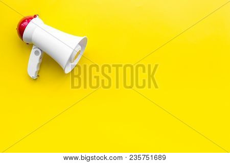 Announcement Concept. Megaphone Top View Copy Space