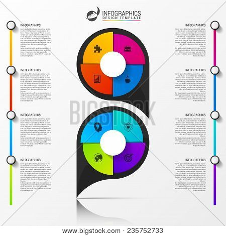 Infographic Design Template. Organization Chart With 8 Steps. Vector Illustration