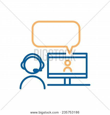 Online Chatting With Videocall. Vector Thin Line Icon Design. Graphic Concept For Online Chatting, W