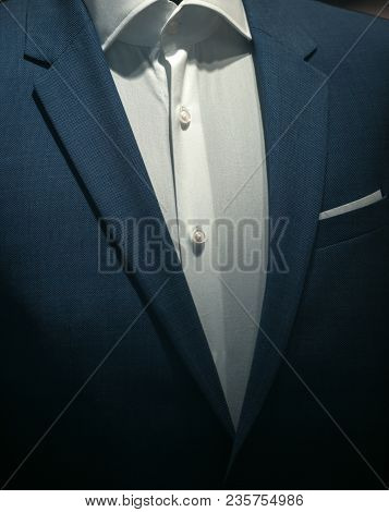 Part Of Formal Male Garment, Close Up. Classic Jacket With White Shirt Made Out Of High Quality Text