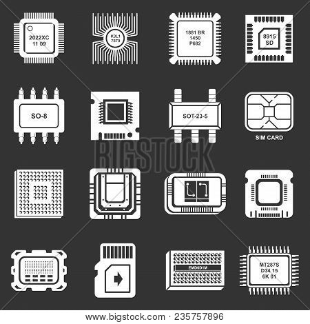 Computer Chips Icons Set Vector White Isolated On Grey Background