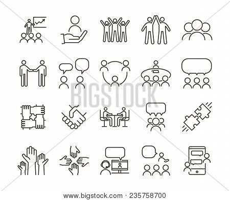 Vector Thin Line Icon Illustration Set. Teamwork And People Interacting, Communicating And Working T