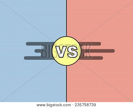 Vs Versus Background In Red, Blue And Yellow For Confrontation And Opposition Concepts. Vector Outli