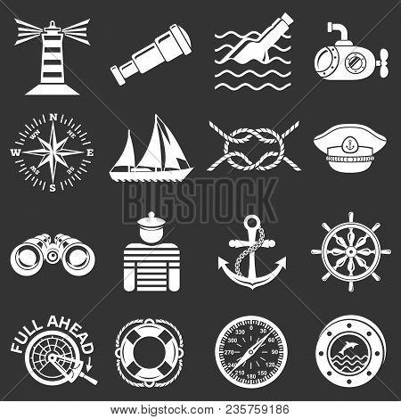 Nautical Icons Set Vector White Isolated On Grey Background
