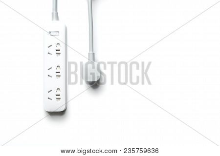 Socket And Plug Electric Power Bar White Color Isolate. Save Energy And Reduce Energy Efficiency Con