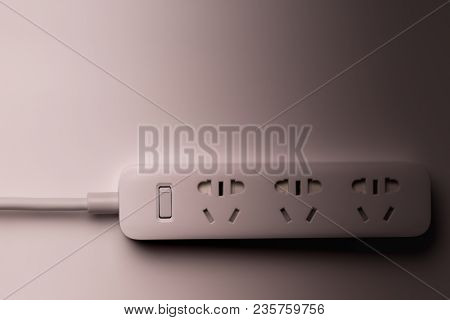 Socket And Plug Electric Power Bar White Color. Save Energy And Reduce Energy Efficiency Concept - U