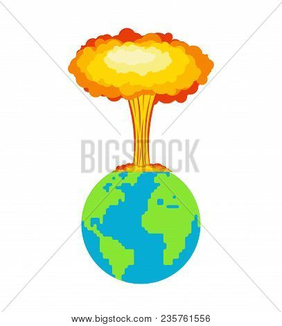 Nuclear Explosion On Planet Earth. War In World. Large Red Explosive Chemical Mushroom.