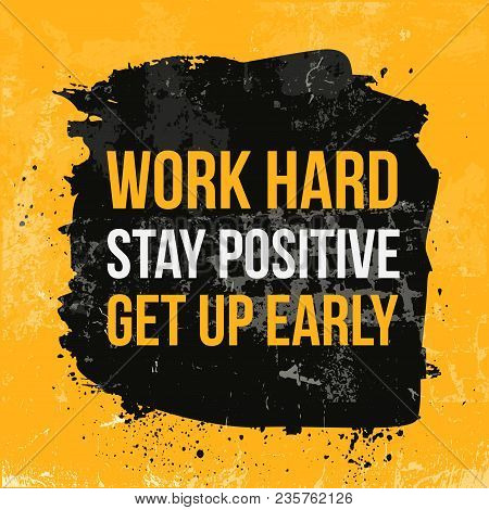Work Hard Typography. Grunge Poster. Typographic Motivational Card About Working Hard. Typography Fo