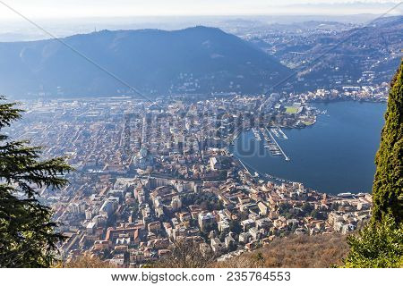 Aerial Landscape Of The Picturesque Colourful City Of Como On Lake Como, Italy. European Alps On The