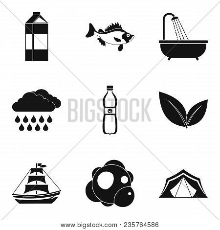Fluid Power System Icons Set. Simple Set Of 9 Fluid Power System Vector Icons For Web Isolated On Wh
