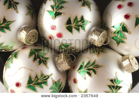 White Spheres With Holly Decoration