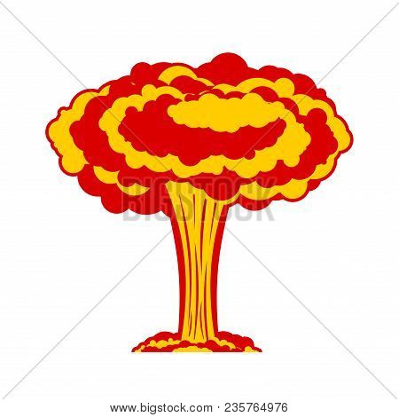 Nuclear Explosion Isolated. War. Large Red Explosive Chemical Mushroom.