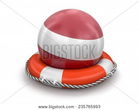 3d Illustration. Ball With Latvian Flag On Lifebuoy. Image With Clipping Path
