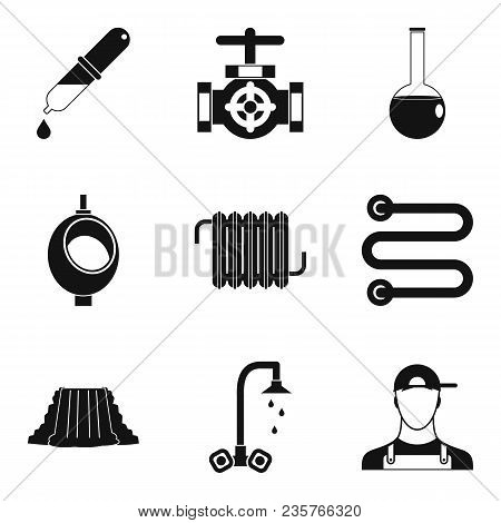 Fluid System Icons Set. Simple Set Of 9 Fluid System Vector Icons For Web Isolated On White Backgrou