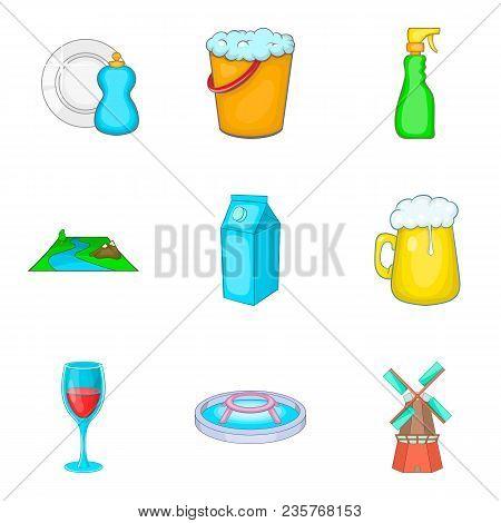 Reservoir Storage Icons Set. Cartoon Set Of 9 Reservoir Storage Vector Icons For Web Isolated On Whi