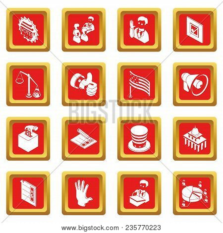 Election Voting Icons Set Vector Red Square Isolated On White Background