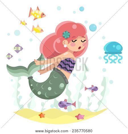 Cute Bodypositive Mermaid Girl Swimming In Sea Ocean Water Bottom Character Icon Design Flat Vector