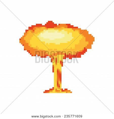 Nuclear Explosion Pixel Art. Large Red Explosive Chemical Mushroom 8bit