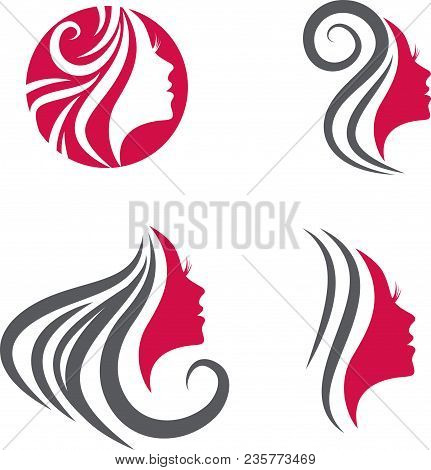 Beauty Woman Face Hair Salon Logo Collection