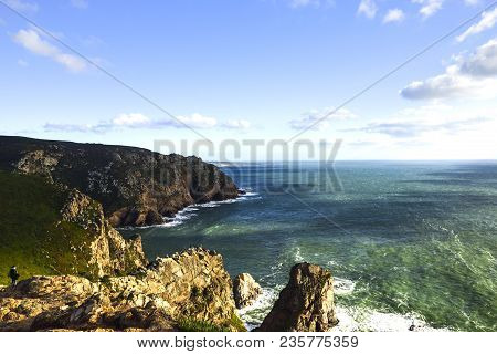 Cabo Da Roca, Portugal. View Of The Atlantic From The Cliff. The Most Western Place In Europe.