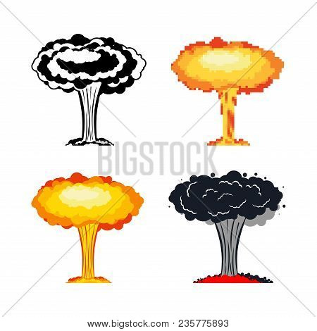 Nuclear Explosion Set. War. Large Red Explosive Chemical Mushroom.