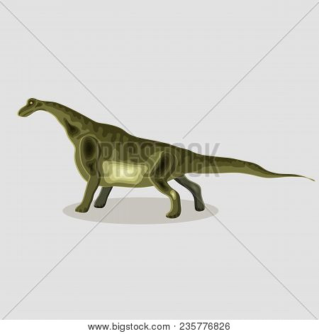 Vector Cartoon  Illustration Of A Dinosaur.  Brontosaurus.