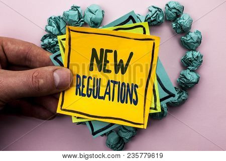 Handwriting Text New Regulations. Concept Meaning Change Of Laws Rules Corporate Standards Specifica
