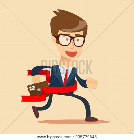 Concept Of Successful Businessman In A Finishing Line. Businessman Victory Run Toward Red Ribbon Tap