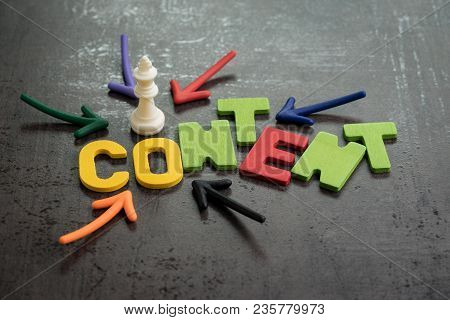Content Is King In Online Advertising And Communication Concept, Colorful Arrows Pointing To Word Co