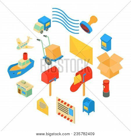 Poste Service Icons Set. Isometric Illustration Of 16 Poste Service Icons Set Vector Icons For Web