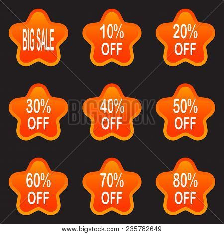 Bright Labels. Hot Sale. Discounts. Shopping Season. A Set Of Stickers. Isolated Without A Shadow. S